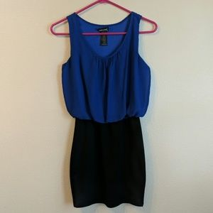 Blue and Black Short Dress